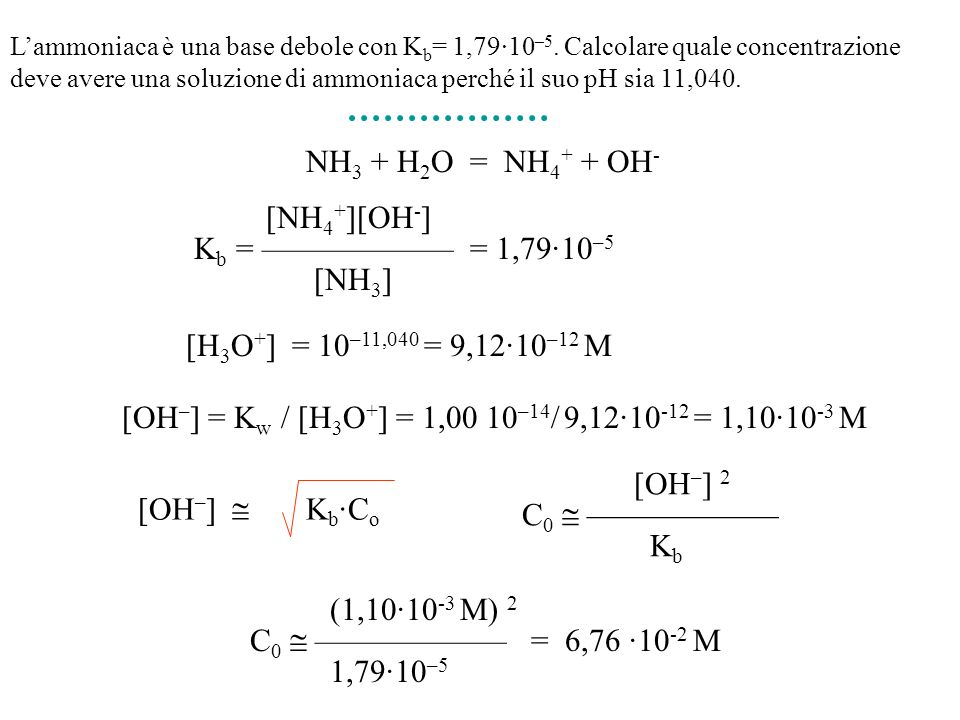 [OH–] = Kw / [H3O+] = 1,00 10–14/ 9,12·10-12 = 1,10·10-3 M
